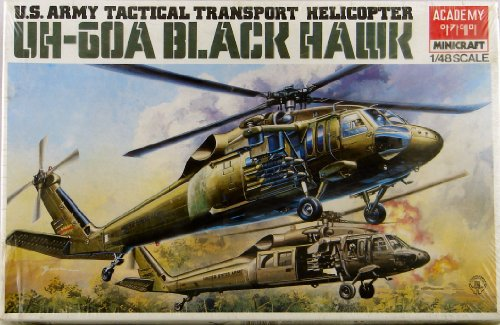 U.s. Army Tactical Transport Helicopter Uh-60a Black Hawk 1/48th Scale Plastic Model Kit