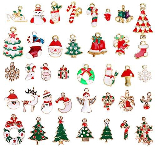 Colgantes de Navidad Mujer Oro - JAHEMU Navideños Encantos Christmas Pendants Charms Dijes para Bisutería Pendientes Pulsera Collar DIY Manualidades Decoración de Navidad Regalo para Niños 38 piezas