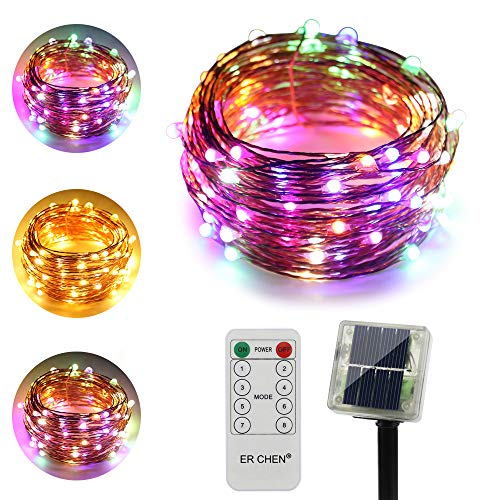 ErChen Dual-Color Solar Powered LED String Lights, 33FT 100 LEDs Remote Control Color Changing 8 Modes Copper Wire Decorative Fairy Lights for Outdoor Garden Patio (Warm White, Multicolor)