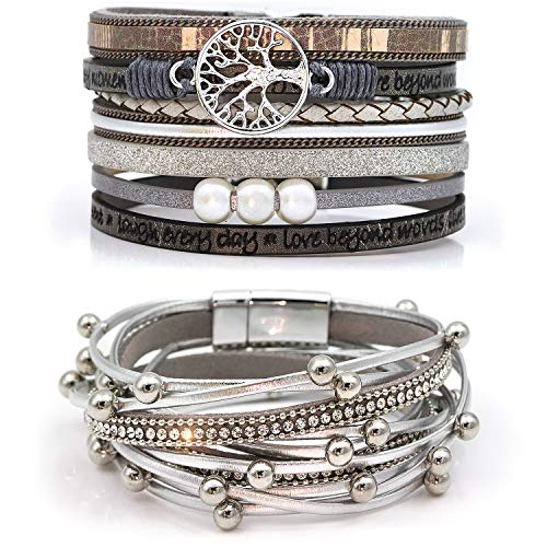 Suyi Multilayer Leather Bracelet Set 2 Pieces Beads Wrap Bracelet Wrist Cuff Bangles with Magnetic Buckle for Women Silver