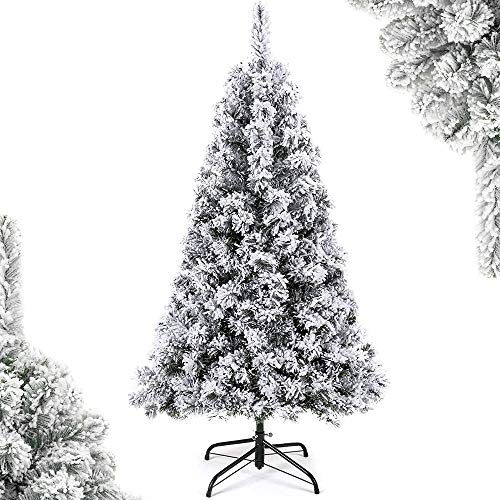 SoFun Direct Shop Christmas Tree 4.5FT Artificial Flocked Snow Christmas Tree Unlit Hinged Fir Holiday Christmas Tree with Sturdy Metal Legs White 280 Tips, 4.5 Feet