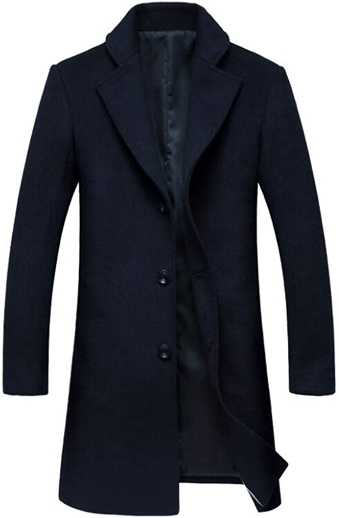 Cafuny Mens Long Wool Blend Trench Coat Slim Fit Single Breasted Overcoat Jacket