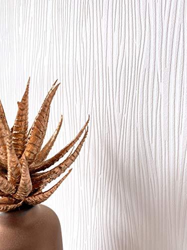 NEWROOM Tapete Weiß Vliestapete Einfarbig - Unitapete Uni Struktur Zebra Modern Linien Strukturtapete inkl. Tapezier-Ratgeber