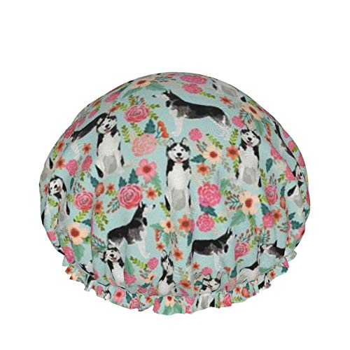 Gorro de ducha reutilizable, con doble capa exterior impermeable para todas las longitudes de pelo (Husky Florals Cute Light Best Husky Dogs Lindo)