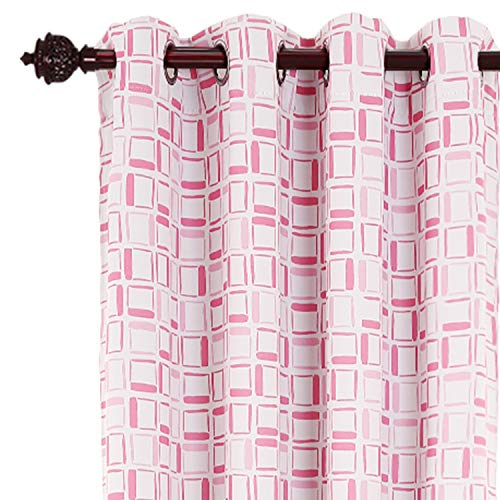 Deconovo Grommet Curtains Printed Square Pattern Window Curtains for Kids Room 52W x 95L Inch Pink 2 Drapes