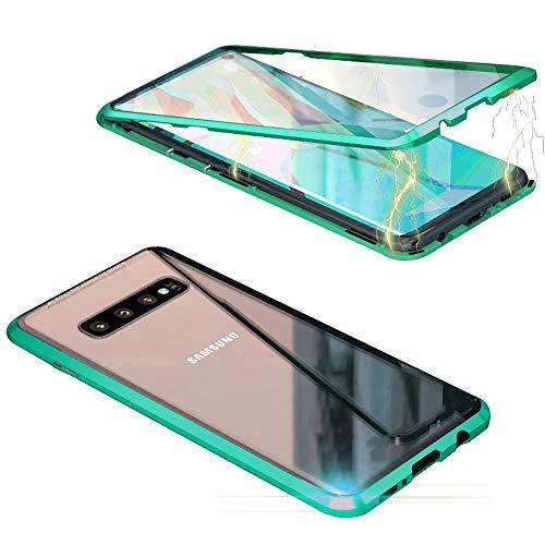 Jonwelsy Cover per Samsung Galaxy S10, Adsorbimento Magnetico Paraurti in Metallo con 360 Gradi Protezione Case Doppi Lati Trasparente Vetro Temperato Flip Custodia per Samsung S10 (Verde)