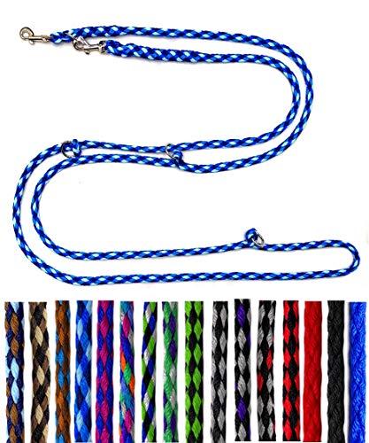 Hundeleine kleine Hunde bis 15 Kg / Doppelleine 4-Fach verstellbar 2,40m / 2,80m / 3,50m Führleine sehr leicht & robust (2,80m 4-Fach verstellbar, Ocean (4 Blautöne))