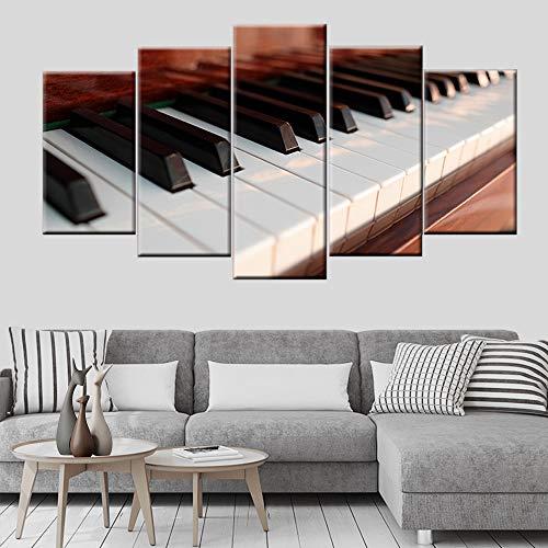 DGGDVP Piano Keys muziekinstrument poster schilderij muurkunst schilderij moderne woonkamer decoratie HD-print 30x40cmx2 30x60cmx2 30x80cmx1 Met frame.
