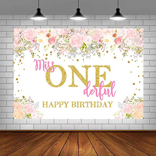 Miss Onederful Birthday Party Photography Backdrop Princess Watercolor Floral Golden Dots First Birthday Background Baby Girl Happy 1st Birthday Party Decorations Supplies 5x3ft