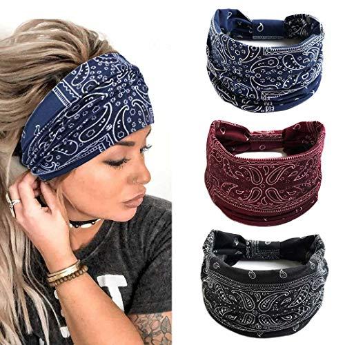Yean Diademas elásticas anchas para yoga, diademas bohemias para el pelo, accesorios para el cabello de flores para mujeres y niñas (paquete de 3) (envolturas para la cabeza boho 1)