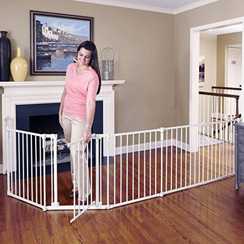 "Toddleroo by North States 3 in 1 Metal Superyard: 144"" long extra wide baby gate, barrier or play yard. Hardware or freestanding. 6 panels, 10 sq.ft. enclosure (30"" tall, Beige)"