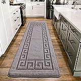 PHP Carpet Runners - Waterproof Non Slip Gel Backing Washable Runner Rug for Hallway Hall Bedroom Living Room Kitchen Rug Large Door Mat Indoor Floor Mat - 60 X 220 cm, Grey