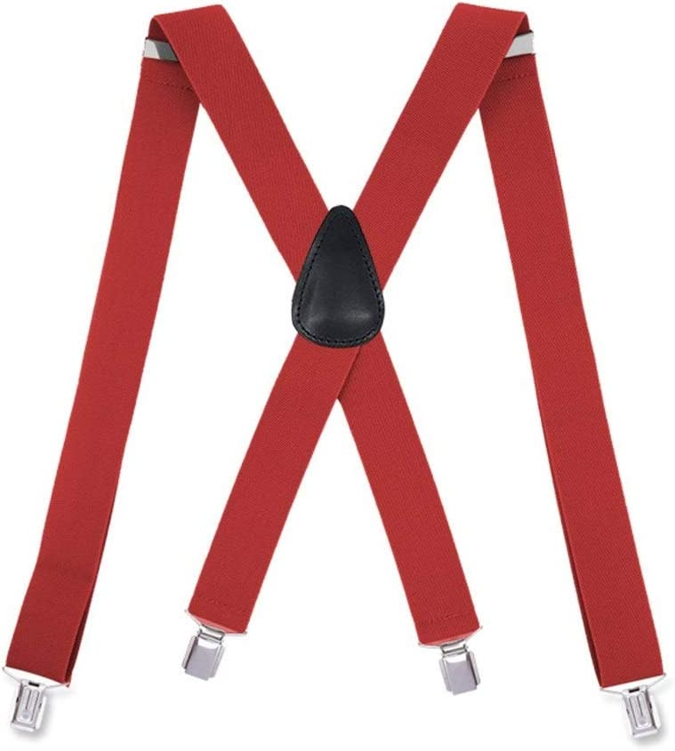 ZYDP Adjustable Strong Metal 4 Clips X-Back Mens Suspenders (Color : Red)