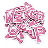 """Iron on Letters for Clothing,Set of 26 Iron on Patches for Clothing,1.6"""" x 2"""" (Pink)"""