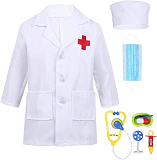 Alvivi Kids Boys Girls Lab Coat Doctor Uniform Halloween Outfit Fancy Dress up Costume with Medical Kit