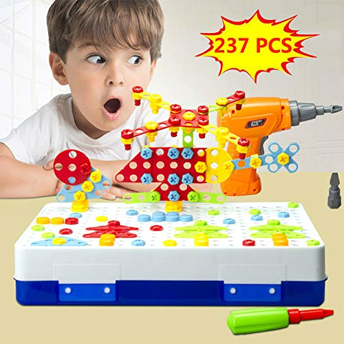 Style-Carry Drill Design Puzzle Constructions Toys – 237 Pcs Electric Drill Creative Mosaic Screwdriver Building Take Apart Blocks STEM Educational Set With Storage Box For 3 4 5 6 7 8 Ages Kids Boys