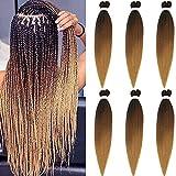 6pc 66cm Pre-Stretched Easy Trenzas Extensiones de Pelo Yaki Braiding Twist Crochet Hair Profesional...