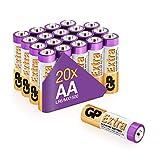 GP - Pack de 20 Pilas AA Alcalinas | Capacidad y duración excepcional | 1,5V LR06 - Mignon -...