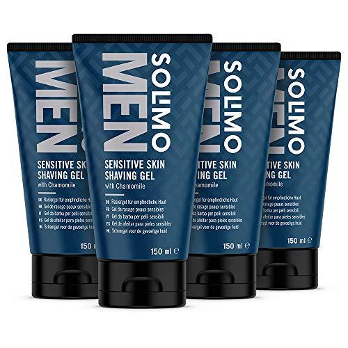 Marchio Amazon - Solimo Gel da barba per pelli sensibili, 4 x 150ml