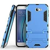Funda para Samsung Galaxy J7 Prime/Galaxy On7 (2016) / Galaxy On7 Prime (5,5 Pulgadas) 2 en 1 Híbrida Rugged Armor Case Choque Absorción Protección Dual Layer Bumper Carcasa con Pata de Cabra (Azul)