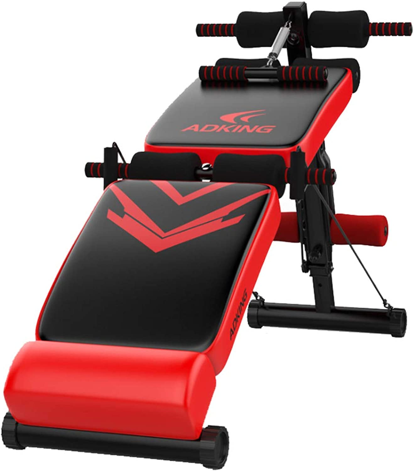 AB Bench Folding Abdominal Multifunctional Trainer with Pulling Rope Thickened PU Leather, MultiFunction Kick Device