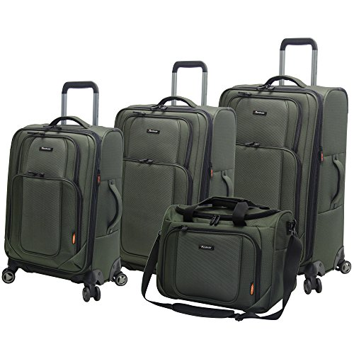 Pathfinder Presidential Designer Luggage - 4 Piece Softside Lightweight Spinner Suitcase Set - Travel Set includes Tote Bag, 21 Inch Carry on, 25 and 29 Inch Checked Suitcases (Olive)