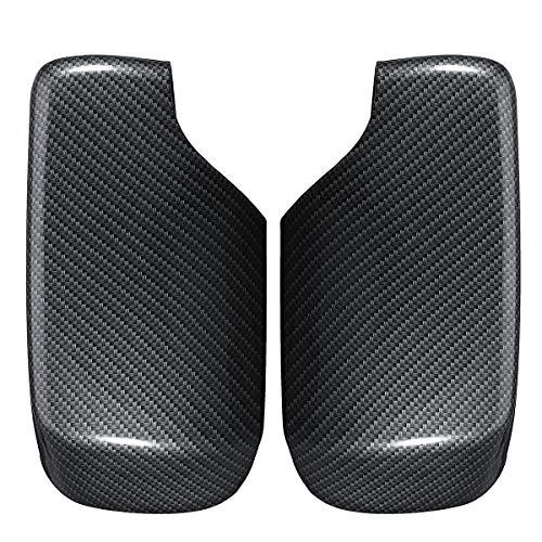 Mrfmh 1 par de Estilo de Auto de Estilo de Carbono Puerta de ala retrovisor Espejo climatizado Cubiertas de Espejo/Ajuste for BMW E46 1998-2005 (Color : Black)