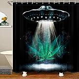 Loussiesd Cortina de ducha con diseño de hoja de cannabis, cortina de ducha exterior de tela para niños, bohemio, psicodélico, impermeable, con ganchos, cortinas botánicas de marihuana, 172 x 200 cm
