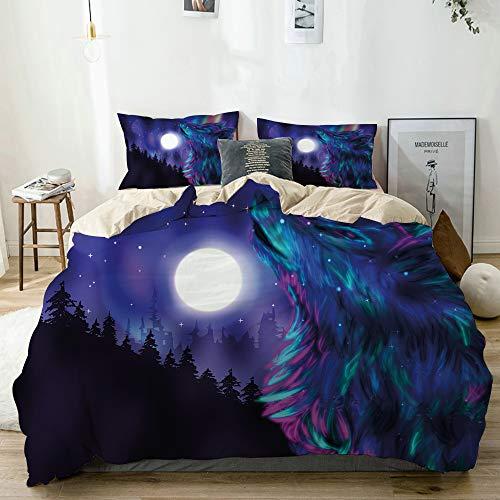 GugeABC Juego de Ropa de Cama 3 Piezas Microfibra,Imágenes del Norte con Aurora Borealis Wolf Spirit Magical Forest Starry Nigh,1 Funda Nórdica y 2 Funda de Almohada (Cama 140x200)