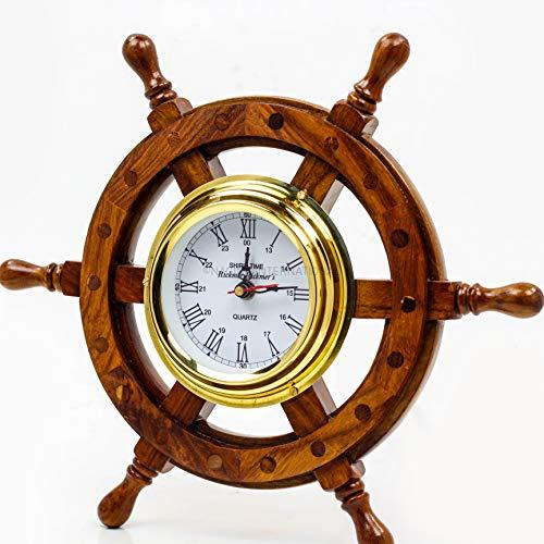 Nagina International, Deluxe Class Wood and Brass Ship Wheel Clock 12' - - Nautical Home Decorating