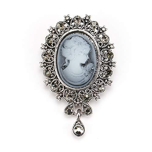 Broches de camafeo de lágrima de diamantes de imitación de cristal de estilo vintage en surtido