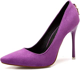 Women's Classic Pointed Toe Pumps High Heel Sexy D-Shaped Metal Buckle Suede Single Shoes 10 cm Stiletto Heels Daily Banqu...