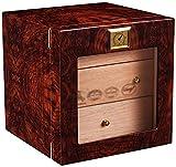QHHALXZ Humidor del gabinete del cigarro con higrómetro y humidificador, madera de cedro alineado y cajones de 3 capas, caja decorativa de la puerta de cristal templado