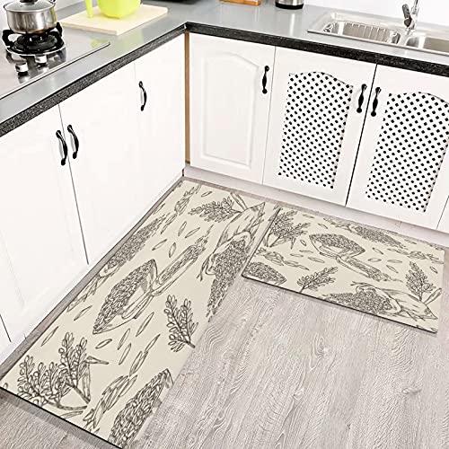 Alfombras Cocina Goma Alfombra de Baño Ducha 2PCS Arroz Plato Bolsa Comida y Bebida Naturaleza alfombras de Cocina Antideslizantes Lavables
