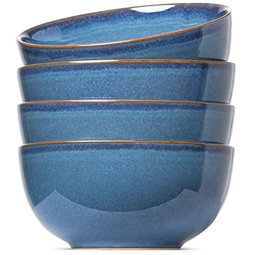 LE TAUCI Soup Cereal Bowls Set, Reactive Glaze Bowls for Cereal, Soup, Salad, Dessert, Set of 4, 20 Ounce, Ceylon Blue