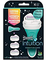 Wilkinson Sword pack intuition sensitivecare - maquinilla depilatoria y enjabonadora femenina intuition + 3 cuchillas autoadaptables, verde