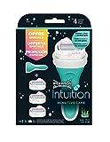 Wilkinson Sword pack intuition sensitivecare - maquinilla depilatoria y enjabonadora femenina intuition + 3 cuchillas autoadaptables
