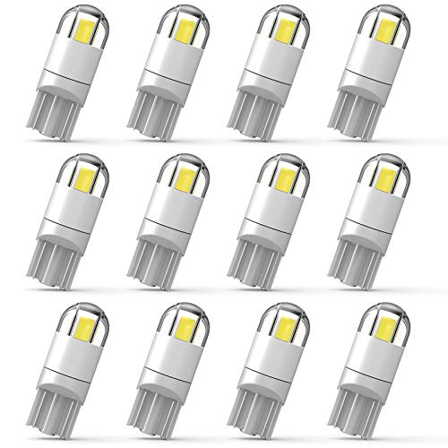 194 Led Car Bulb 3030 Chipset 2SMD T10 194 168 W5W Led Wedge Light Bulb 1.5W 12V License Plate Courtesy Step Map Lights Trunk Lamp Clearance Lights (12pcs)