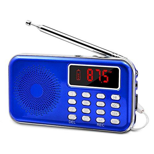 LEFON Mini Digital FM Radio + MP3 Music Player + Digital Voice Recorders Support TF Card/USB Disk with LED Screen Display Emergency Flashlight (Blue)