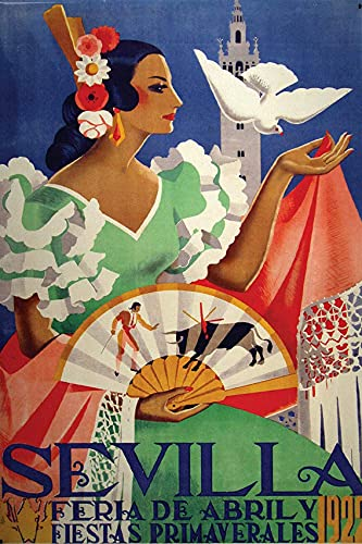 JuYiCk Cartel de metal de 20 x 30 cm, diseño de flamenco de España Sevilla, decoración para café, bar, bar, bar, hogar, café, cerveza, garaje, cocina, baño, puerta y jardín