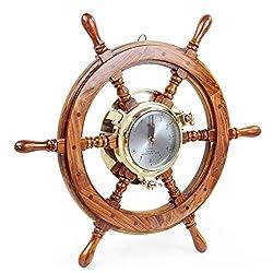 Nagina International Premium Porthole Clock Ship Wheel with Solid Teak Finish - Captain Maritime Beach Home Decor Gift (16 Inches)
