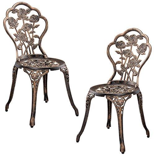 casa.pro Gartentisch/Bistro-Tisch 60cm, rund, Bronze mit 2 Stühlen - Französische Gartenmöbel im Antik-Look für Balkon/Terrasse - Bistro-Set wetterbeständig, Gusseisen-Metall als Gartendeko - 4