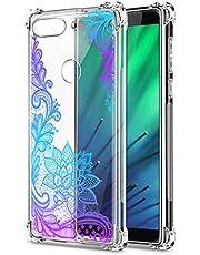 Oihxse Cristal Compatible con Huawei Y9 2018/Enjoy 8 Plus Funda Transparente TPU Silicona Estuche Airbag Esquinas Anti-Choque Anti Rasguños Diseño Rosa Flower Caso (Flores B8)