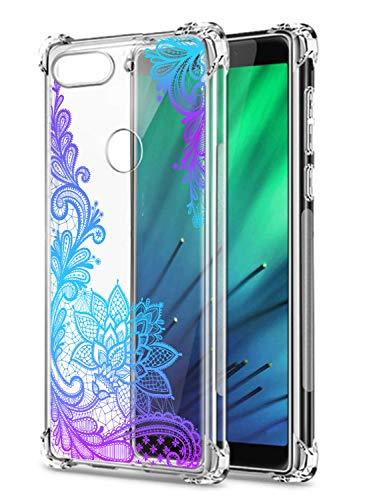 Oihxse Cristal Compatible con Samsung Galaxy A8+ 2018 Funda Transparente TPU Silicona Estuche Airbag Esquinas Anti-Choque Anti Rasguños Diseño Rosa Flower Caso (Flores B8)