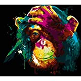 Shoci DIY Oil Painting, Paint by Numbers Kits for Kids, Adults and Beginner, Orangutan 16x20 Inches