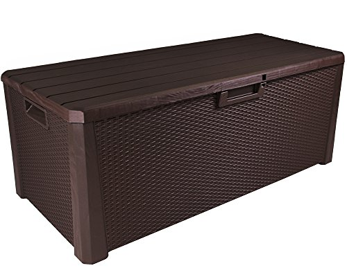 Ondis24 Kissenbox Nevada Rattan Holz Optik Sitztruhe Auflagenbox abschließbar braun 560 Liter XXL