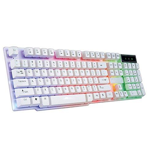STRIR Teclado para Juegos, Mecánica Feel Gaming Keyboard, USB LED Retroiluminada con Conexión de Cable del Juego Teclado (Blanco)
