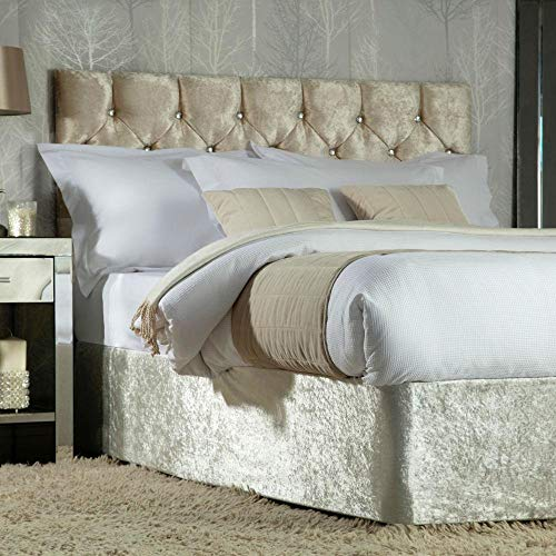 Studio Home Exclusive Elasticated Crushed Velvet Bed Base Wrap Divan Valance Cover - Champagne (King)