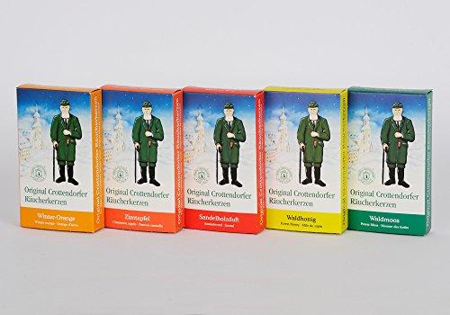 5er Pack Crottendorfer Räucherkerzen 5 x 24 Stück, Sandelholz, Waldhonig, Waldmoos, Zimtapfel, Winterorgange