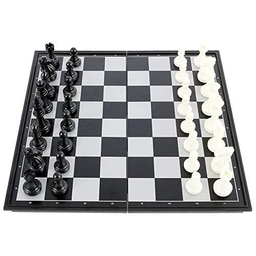 Juego de ajedrez de 32 * 32 cm Juego de ajedrez de tablero magnético Juego de borradores de viaje de ajedrez internacional plegable Juegos de mesa portátiles con 32 piezas de ajedrez para niños y ad